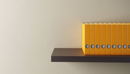 shelf with books: row of folders on bookshelf, 3d render