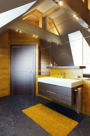 washbowl: Modern interior design of a bathroom, 3d render Stock Photo
