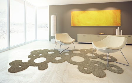 livingroom minimal: modern design of lounge room Stock Photo
