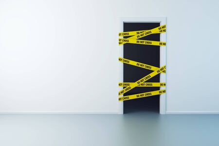 alert ribbon: police line on the doorway, 3d rendering Stock Photo