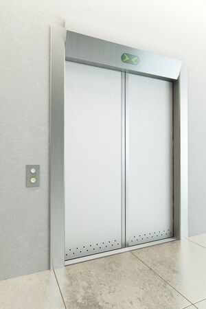 modern elevator with closed doors photo