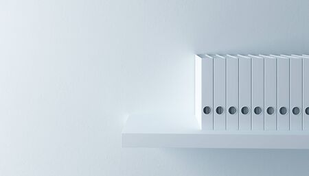 row of folders on bookshelf, 3d render photo