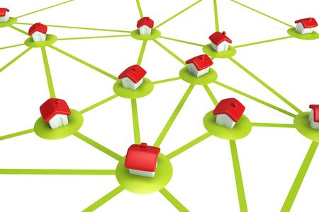 symbolic settlement network , isolated 3d render photo