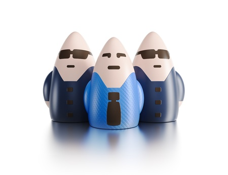 boss with bodyguards, 3d render concept photo