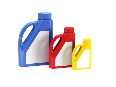 motors: set of motor oil bottles isolated 3d render Stockfoto