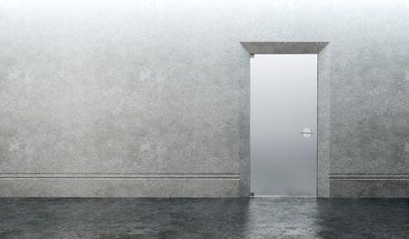 3d rendering the empty room with door photo