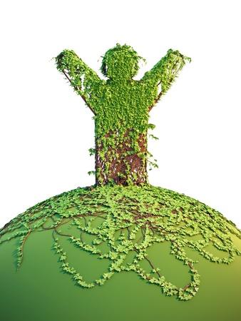 symbolic tree man on the planet, 3d render photo
