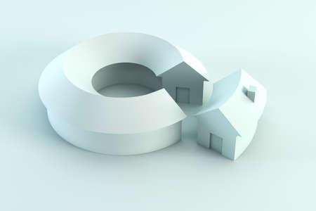 segment: house segment in the conceptual diagram, 3d render Stock Photo