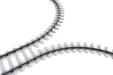 diverging: diverging railway. isolated 3d rendering