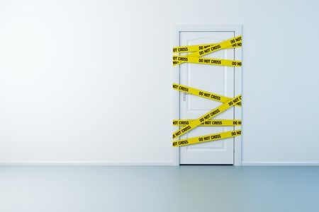 tape line: police line on the doorway, 3d rendering Stock Photo