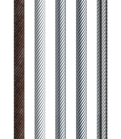 steel cable: set of seamless steel cable, isolated 3d render