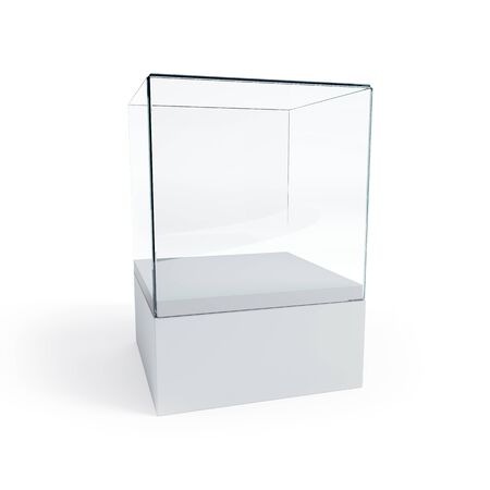 glass window: empty display case, isolated 3d render Stock Photo