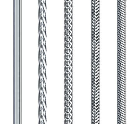 steel wire: set of seamless steel cable, isolated 3d render