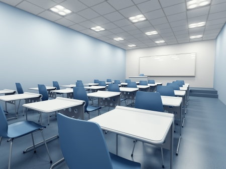 lecture hall: modern blue classroom. 3d rendering Stock Photo