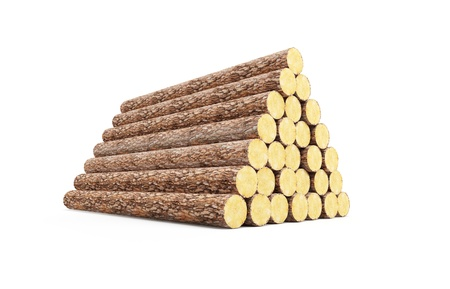 wood log: stack of pine logs, 3d render