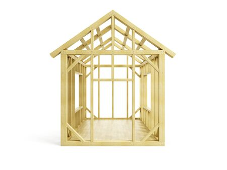 wooden house: Home Construction, isolated 3d render Stock Photo