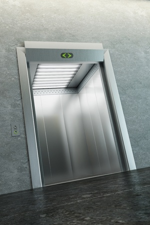 lift gate: modern elevator with open doors