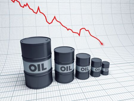 recession: fall down of oil barrel, 3d rendering
