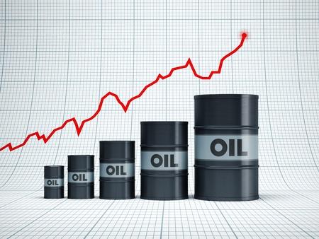 rising oil barrel, 3d rendering Stock Photo - 10543373