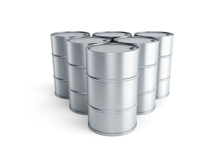 chemicals: set of oil barrels, isolated 3d render