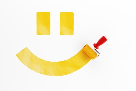 painted smile on the wall, 3d render photo