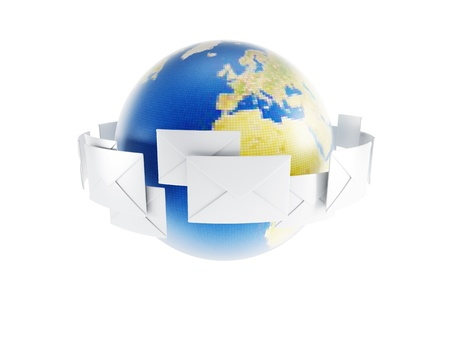 communicate concept: world correspondence, isolated 3d render