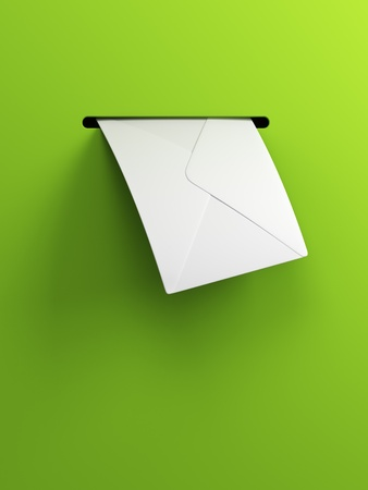 postbox: incoming letter, 3d render