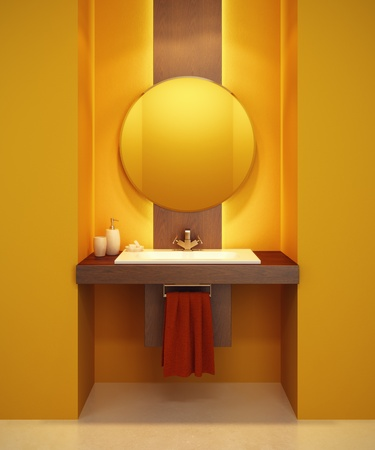 basin: modern bathroom interior 3d rendering