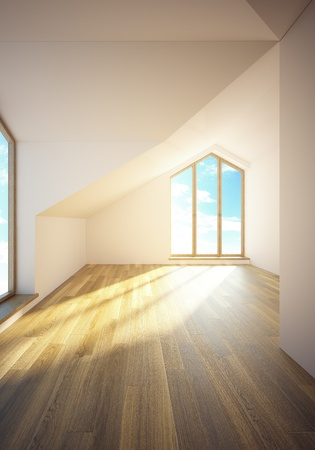 mansard: 3d rendering the empty mansard room with windows Stock Photo
