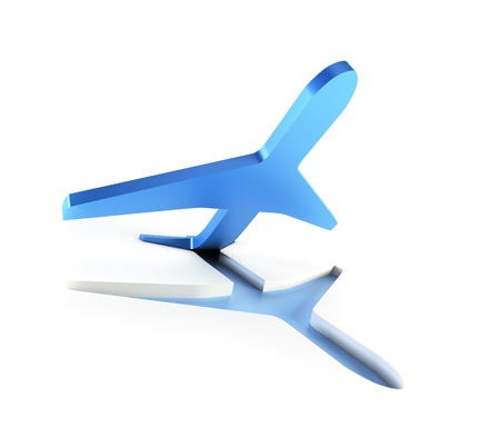 airplane take off: symbolic airplane take off, isolated 3d render Stock Photo