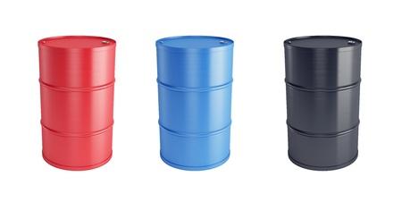 toxic barrels: set of steel barrels isolated 3d render