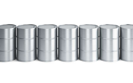 set of oil barrels, isolated 3d render photo
