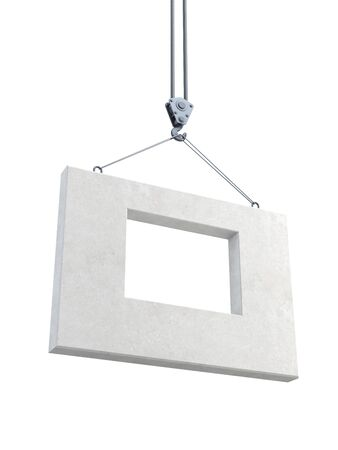 concrete block: hook holding concrete block, isolated 3d render Stock Photo
