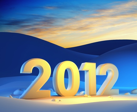 new year 2012, 3d render photo