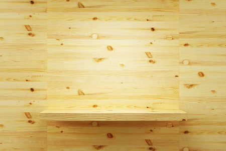 empty wood shelf on wall, 3d render photo