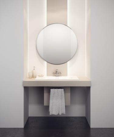 lavabo salle de bain: int�rieur moderne salle de bain 3d rendu Banque d'images
