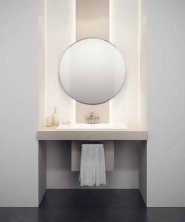 bathroom mirror: modern bathroom interior 3d rendering