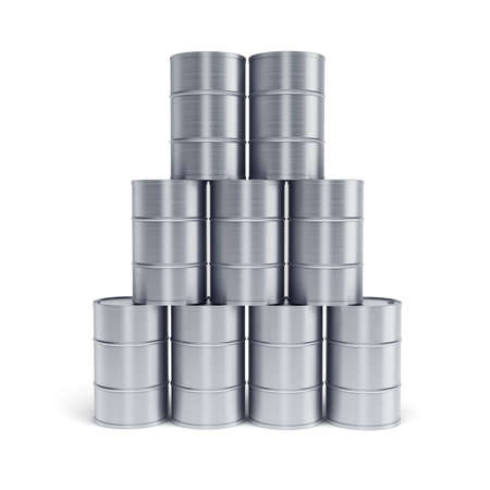 silver oil barrels 3d render photo