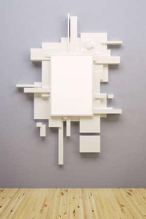 abstract art comosition in museum, 3d render photo