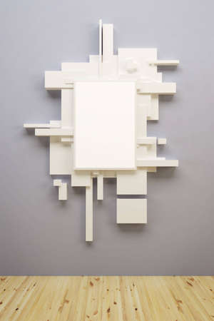 art museum: abstract art comosition in museum, 3d render