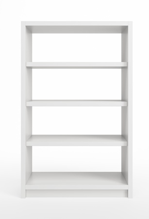 Bookcase: modern white bookcase, 3d render Stock Photo