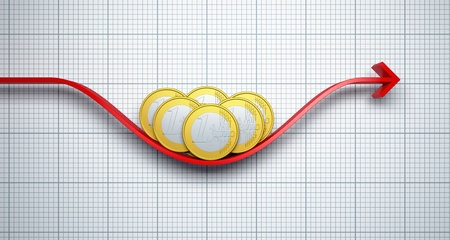 cutback: move euro exchange rate, 3d render