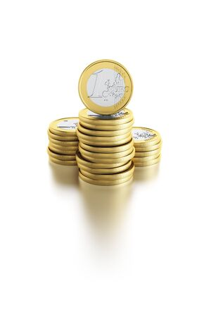 coin stack: stack of euro coins, isolated 3d render