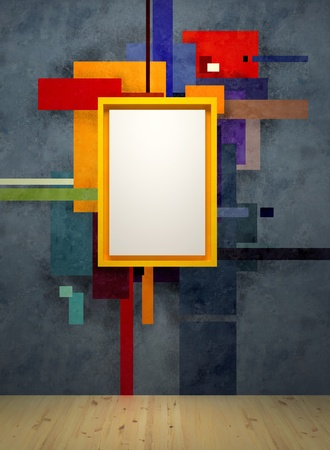 art museum: abstract art composition in museum, 3d render