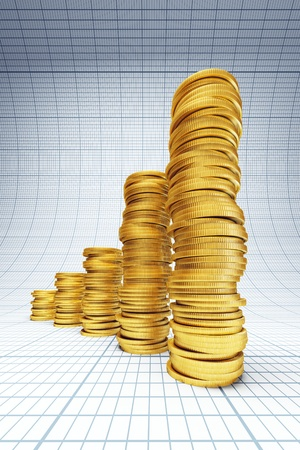gold bar earn: concept of successful investment, 3d rendering Stock Photo