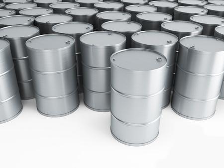 toxic barrels: silver oil barrels 3d render
