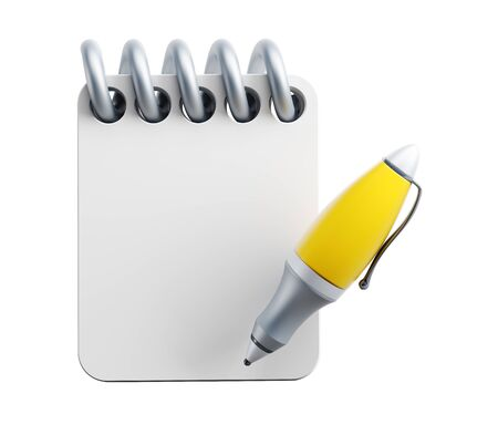 signing document: notebook and pen, isolated 3d render Stock Photo