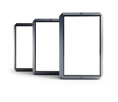 set of modern smartphones with blank screens photo