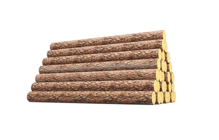 raw material: stack of pine logs, 3d render