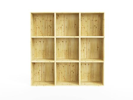 bookcases: empty pine shelf, isolated 3d render